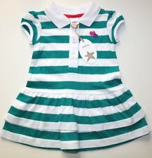 ADAMS- WHITE TURQUOISE BLUE STRIPED SOFT COTTON POLO DRESS- GIRLS 3-6 MONTHS NEW