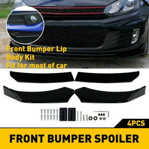 Glossy Black Universal Front Bumper Lip Spoiler Splitter Under Panel Diffuser