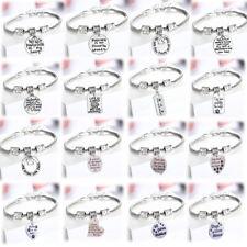 Memory Bracelet Charm Dog Cat Pet Loss Silver Pendants Paw Print Heart Gifts Tag