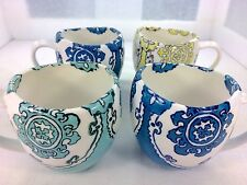 4 Anthropologie Gloriosa Mugs Cups Yellow Green Blue Moroccan Pattern Beautiful