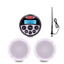 "Marine stereo system radio Bluetooth boat stereo 4"" Speakers car Radio Antenna"