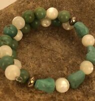 Native American Sterling Silver Green Turquoise MOP Bracelet