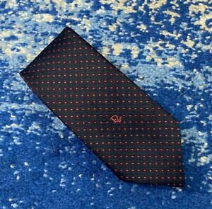 Christian Dior Vintage Navy Blue Red Polka Dots Logo Necktie