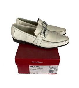LUXURY Salvatore Ferragamo 9.5 EE Cream/Off White Horsebit Buckle Loafer Slip On