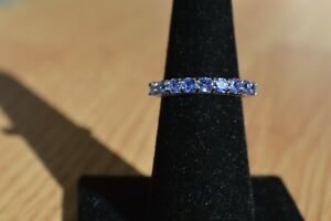 1.35ct Tanzanite Band Ring Platinum over Sterling Silver Size 6 ~ Nice
