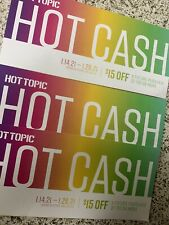 Hot Topic Hot Cash coupon code $15 off $30 emailed 1/14/21-1/26/21 SHIPS ASAP!!!