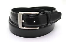 Mens Leather Belt (media) NERO NUOVO 19630