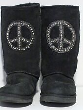 Penelope Wildberry Black PEACE Sign Crystal Rhinestone Shearling Boots size 8
