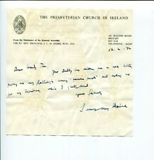 James Haire Moderator Presbyterian Church Ireland Clergy Signed Autograph ALS