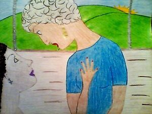 DRAWING,'WISDOM SHARE',COLORED, ANIMATED, URBAN, ON SKETCH PAD- FREE SHIPPING!