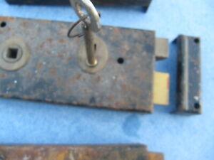 "Old/vintage  union rim lock, keep,  & key working order  5 1/2"" x 2 3/4"""