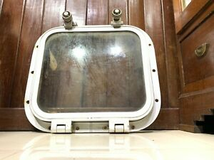 OLD VINTAGE NAUTICAL MARINE SHIP SQAURE PORTHOLE ALUMINIUM 2 DOGS 1 Piece
