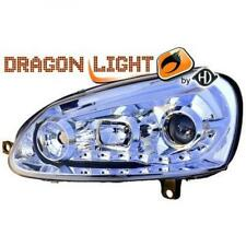 LHD Projector Headlights Pair LED Dragon Clear Chrome For VW Jetta II 03-On