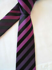 GEORGE PURPLE BLACK STRIPED 3.5 INCH POLYESTER NECK TIE