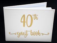 40th Birthday Sign Keepsake White Modern Signature Guest Book Memories Present