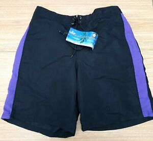 "ACCLAIM Mens Bermuda Shorts Large Mesh Liner Peach Feel Black Purple 36/38"""