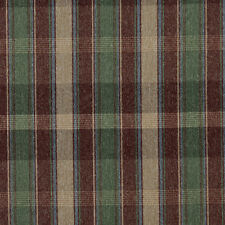 C642 Burgundy Blue Green Beige Large Plaid Country Upholstery Fabric By The Yard