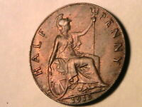 1915 GREAT BRITAIN Half Penny Ch AU Lustrous R&B Original British UK WWI Coin