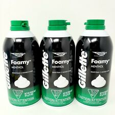 Lot of 3 Gillette Menthol Foamy Shave Foam Mousse Comfort Glide 11 oz ea New