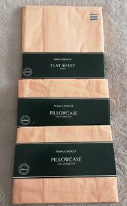 M&S Vintage Peach Double Flat Sheet & 2 Pillowcases
