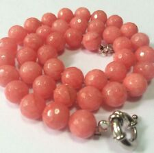 "Natural 10mm Faceted pink Rhodochrosite necklace 18"" JN435"