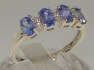 Solid Sterling Silver Natural Tanzanite & Diamond Eternity Band Ring