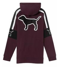 VICTORIAS SECRET PINK Sherpa Hood Campus Zip Satin Tunic Pullover Hoodie Wine L