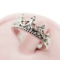 Princess Crown Rings Womens Girls Silver Plated Ring Band Xmas Gift J L N P