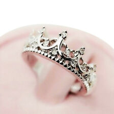 Womens Princess Crown Rings Silver Plated Ring Band Gold Jewellery Band J L N P