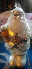 Vintage Dept 56 Hand Blown Glass White And Gold 7� Santa Claus Ornament