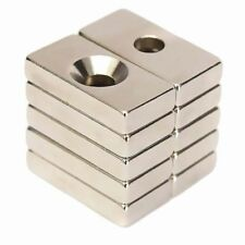 10pcs N50Super Strong Block Magnets 20 x 10 x 4mm Hole 4mm Rare Earth Neodymium