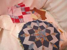 Vintage 1980's 14 Quilt Blocks cotton wool denim Dutch Rose 4 Patch Fan