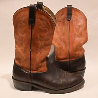 Double H / Orvis 11 D Brown / Orange Pull On USA Made Western Cowboy Boots