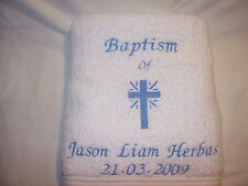 BEAUTIFUL WHITE CHRISTENING /Baptism  TOWEL for your baby