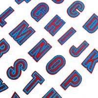 one Set 26Pcs Red Blue Number Letters Patch Alphabet Embroidery Iron on Patches