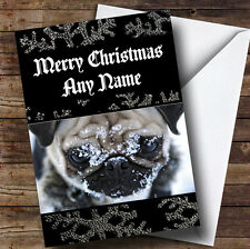 Pug Dog In The Snow Personalised Christmas Greetings Card