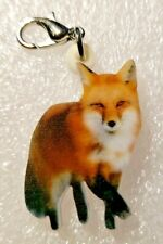 Red Fox Realistic Acrylic Double-Sided Purse Charm Dangle Zipper Pull Jewelry