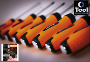 Sealey Tools BRIGHT ORANGE Hammer Thru Screwdriver Tool Set MAGENTIC Tips 8pc