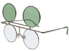 Round Flip up Sunglasses Glasses Color Lens Retro Steampunk Vintage Silver Green