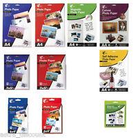 PHOTO PAPER - 12 TYPES - A4, 7x5, 6x4 - GLOSS, MATT, CANVAS - INKJET PRINTER