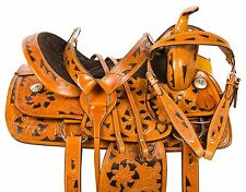 "15"" WESTERN BARREL RACING PLEASURE TRAIL SHOW HORSE LEATHER SADDLE TACK"