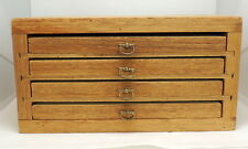 Heavy Handmade Crafted 4 Tray Drawer Wood Chest Fly Fishing? Jewels? Dimes?