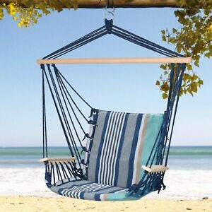 Striped Blue Hanging Hammock Chair Portable Garden Swing Seat Tree Cotton Travel