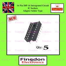 5 x 16 Pin DIP16 Integrated Circuit IC Sockets Adapter Solder Type UK Seller