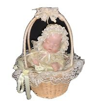 Musical Porcelain Sleeping Moving Baby in Basket 'Lullaby and Goodnight' TLC