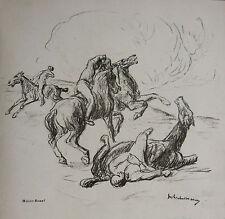 MAX LIEBERMANN: REITER-KAMPF, LITHOGRAFIE 1915, SCHIEFLER 196; BÜTTNER CHAMPAGNE