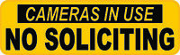 10in x 3in Caution No Soliciting Sticker Car Truck Vehicle Bumper Decal