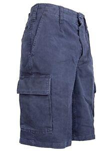Pantaloni Corti Moleskin da Campo 5 Tasche Bermuda Militare 100% Cotone Blu Navy