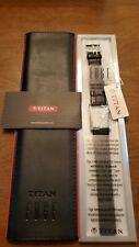 TITAN EDGE Quartz SLIM DIAL Watch for Men Silver Black Band Model 1043SL05 NEW