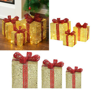 Pack of 3 Christmas Gift Box with LED String Lights Xmas Tree Decorative Present
